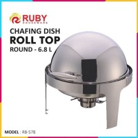 RUBY RB-578 Round Roll Top Chafing Dish 6.8lt - Food Warmer Stainless