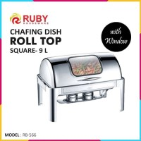 RUBY RB-566 Square Roll Top Chafing Dish with Window 9Lt - Stainless