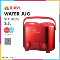 RUBY RB-453R Double Water Jug Color 2x6Lt Stainless - Red