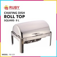 RUBY RB-529 Square Roll Top Chafing Dish 9Lt - Food Warmer Stainless