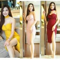 dress scuba maroon kuning pink pas body import