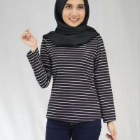 Stevi top Fit L Baju Kaos Salur Katun Spandek Wanita Terbaru
