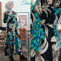 Dress Panjang Bunga Jepun Gamis Smoke Kerut Dada