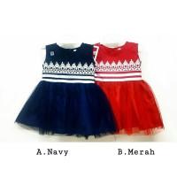 Baju Bayi Perempuan Dress Bayi Anak Gaun Pesta Katun Renda Merah Navy