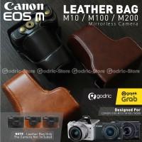 Canon EOS M200 Leather Bag / Case / Tas Kamera Kulit 15-45 / 18-55 MM