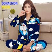 baju tidur piyama wanita lengan celana panjang karakter doraemon kitty