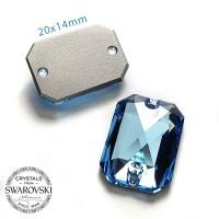 Swarovski Emerald 20x14mm Aquamarine - Payet Jahit Kotak