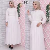 Gamis Putih Lebaran / Gamis Premium / Gamis Syari / Gamis Pesta 1222