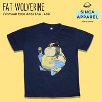 Baju Kaos Anak Cowok Laki - Laki Fat Wolverine Superhero Premium