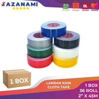 1 BOX LAKBAN KAIN 2 INCH X 45M SAZANAMI CLOTH TAPE WARNA #JNE TRUCKING