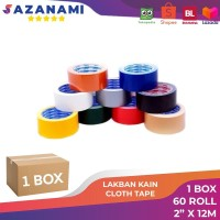 1 Box LAKBAN KAIN 2 INCH X 12M SAZANAMI CLOTH TAPE WARNA #JNE TRUCKING