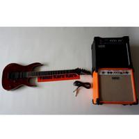 Paketan Gitar Ibanez Premium Merah & Ampli 8 Inch Orange/Laney