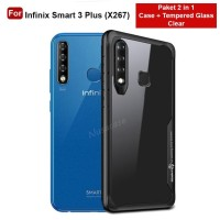 Case Infinix Smart 3 Plus Casing Hardcase Transparan Free Tempered