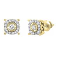 0.30 Carat (ctw) 10K Gold Round White Diamond Ladies Stud Earrings