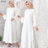 Gamis Putih Premium / Gamis Lebaran / Gamis Syari / Gamis Pesta 8362