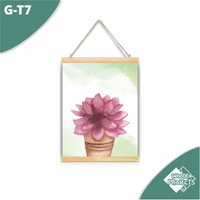 Hiasan pajangan Kanvas gantung rumah pot bunga kaktus kartun - G-T