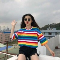 kaos wanita | t-shirt o-neck motif garis pelangi