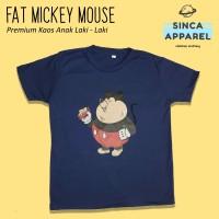 Baju Kaos Anak Laki - Laki Fat Mickey Mouse Lengan Pendek Premium