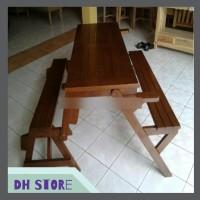 [HOT SALE] Kursi & Meja Lipat Bangku Kayu Jati Untuk Kafe - Resto -