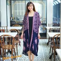Atasan Batik Wanita Kimono Outer Long Cardigan - Wayang Pink Hitam