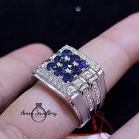 Jual Cincin Perak Berlian Kombinasi Batu Blue Safir Laki Laki