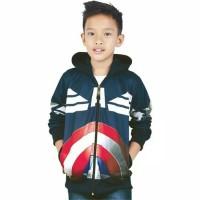 Clothing - Jaket Sweater Anak Cowok Hoodie Captain Amerika Navy CZR