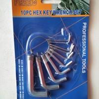 KUNCI L FREED 10PCS HEX KEY WRENCH SET PROFESSIONAL TOOLS