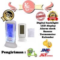 Digital backlight LED alarm clock snooze termometer kalender jam meja