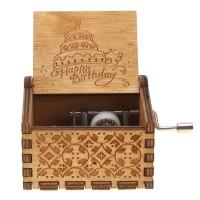 Wooden Music Box Vintage Kotak Musik Frozen Happy Birthday Star