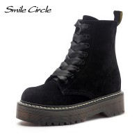 Warm fur boots winter chunky Heel Leather boots Women Shoes Lace-up