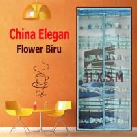 Tirai Magnet Elegan Motif Flower Biru