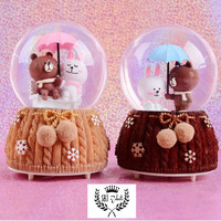 KOTAK MUSIK MUSIC BOX CRYSTAL BALL SNOW BROWN SALLY LOVE