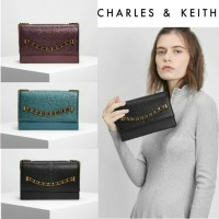 Harga tas charles and keith chain detail front flap bag tas import | antitipu.com