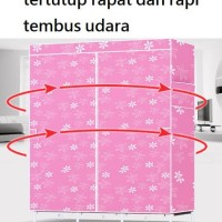 DIJUAL KAIN LEMARI BAJU PAKAIAN BONEKA PORTABLE 2 GANTUNGAN - PURPLE