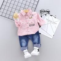 Baju Setelan Anak Laki laki   Kemeja Anak Import Celana panjang Jeans