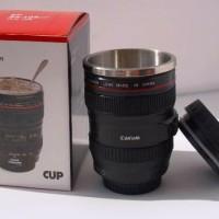 Gelas Lensa Kamera Stainless Steel - Mug Unik Camera Lens Cup