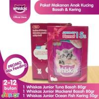 Harga paket promo whiskas junior makanan kucing kering dan basah isi 1 | antitipu.com
