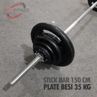 Paket Stick 150cm Lubang 3cm + Plate beban besi Dumbell Barbel Bar