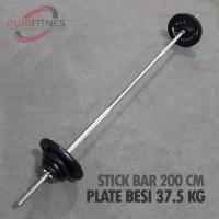 Paket Stick 200 cm Lubang 3cm + Plate beban besi Dumbell Barbel Bar