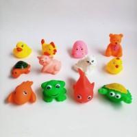 Mainan Citcit Bebek Mandi Vinyl Binatang Campur Karet Jala