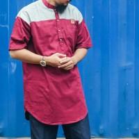 baju gamis pria muslim modern Al amwa - gamis kurta kombinasi rajut