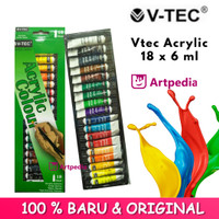 V-TEC ACRYLIC COLOURS 6 ML SET 18 / V-TEC CAT AKRILIK 18 WARNA