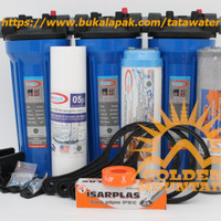 "Paket SAFE 3 Saringan / Filter Air Siap Pakai (Blue 10"" drat 1/2"" SGC)"