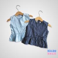 Kanza Stripe Blouse – Blue Navy - blouse anak perempuan