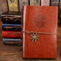 Buku Catatan Binder Kulit Retro Compass Kertas A6 - Brown