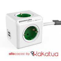 Allocacoc PowerCube Extended USB GREEN 2.1A USB Duo Quick Fast Charger