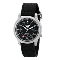 Seiko 5 SNK809K2 Black Nylon Military Strap Automatic SNK809