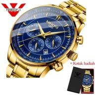 PROMO NIBOSI 2351 Luxury Men Waterproof Creative Arch Glass Gold Wrist