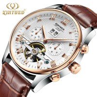 PROMO KINYUED J012 Men's Mechanical Tourbillon Wristwatch Leather