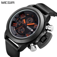 PROMO MEGIR 2002 Original Watch Men Sport Quartz Chronograph Watch